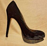 Sam Edelman Women Black Suede Pumps Stiletto High Heels Platform Shoes Size 9 M