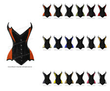 26 Double Steel Boned Waist Training Genuine Leather Overbust Corset #8718