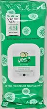 New! Yes To Cucumbers Soothing Hypoallergenic Facial Wipes 45 Count Free Ship!