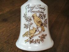 "Vtg Great Smoky Mountains Ceramic Glass Bird-Floral 5 5/8"" Tall Ivory Colorbell"