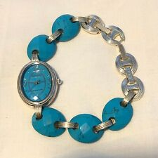 Ecclissi Sterling Silver Sleeping Beauty Turquoise Link Watch Turquoise Links