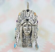 Big Bold Native American Chief sterling silver turquoise bolo pendant signed