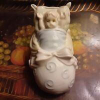 Vintage Baby in Shoe Shaped Bassinet with Bow Children's Ceramic Coin Piggy Bank