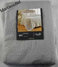 Martha Stewart Collection Stenciled Leaves King Quilt Gray