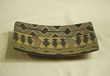 Vintage Hand Painted Primitive Aboriginal Art Pottery Stoneware Clay Tray Plate