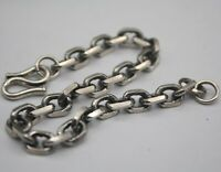 Sterling S925 Silver Bracelet Unique Square Cable Chain Man's Link Jewelry 7.5''