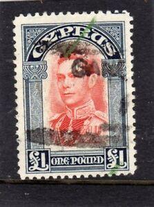 Cyprus KGVI 1938-51 £1 SCARLET & INDIGO SG;163 USED