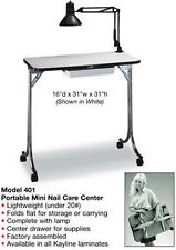 KAYLINE Portable Manicure Table Nail Care Center With Lamp - Cherry Wood # 401
