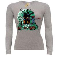 Stay spooky T-Shirt Scare crow bats pumpkins ladies long sleeve