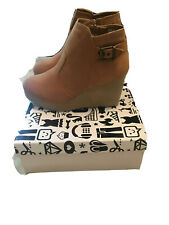 Bamboo Tan Suede Wedge Bootie