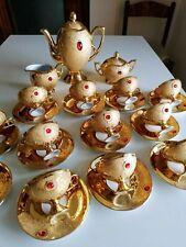 Servizio antico 12 tazzine caffè Rieber Mitterteich Bavaria caffe oro gioiello