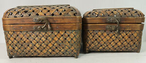 Woven Nesting Boxes 2 Brown Squared Locking Closures