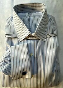 Brooks Brothers Men's Dress Shirt  Classic 17-34 Blue & White French Cuffs NWT