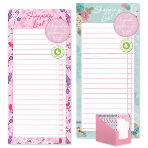 Floral Magnetic Refrigerator Shopping List Pad Fridge Magnet Pink Blue Grey