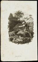 1834 - Gravur auf die Drei Reiche der die Natur - De Vries - -szene Jagd