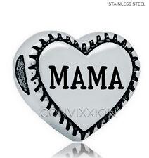 Mama European Charm Bead Heart Mom Mother Love Gift Stainless Steel vix4pandora
