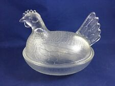 """Vintage Hen on Nest Clear Glass Decorative Dish 7"""" Candy Dish Decor"""