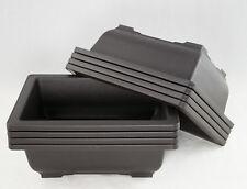 "8 Rectangular Plastic Bonsai / Succulent Pots 8.5""x 6.5""x 2.75"" - Dark Brown"