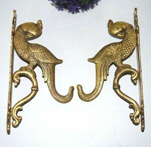 Pair Of Wall Hooks Brass Parrot Wall Mounted Hooks Twin Bird Key Holder EK304