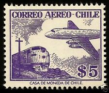 CHILE, AIR PLANE AND TRAIN,  MNH, YEAR 1955-56, CASA DE MONEDA DE CHILE