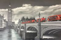 London buses Westminster Bridge black and white red accent original oil painting