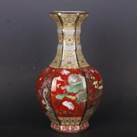 10 inch Chinese Colour Enamels Porcelain Vase Gild Flower Bird Six Sides Design