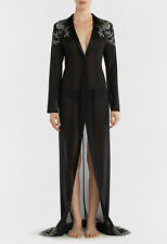 La Perla Peony Black Silk Georgette Long Robe L $2220