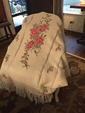 Crocheted Vintage Handmade Blanket Throw Roses Floral Cross Stitched Shabby Chic