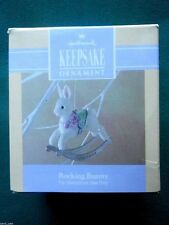 HALLMARK 1992 EASTER Rocking Bunny NICKLE-PLATED ORNAMENT Easter Tree-NIB+pt