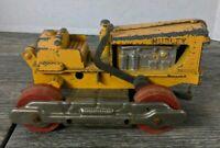 Vintage 1950's Hubley Diecast Diesel Tractor w/Wood Wheels