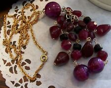 """Party Raspberry Dangle 5"""" Beads Gold Chain Necklace 24"""""""