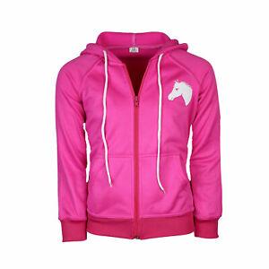 Kinder Trainingsjacke Reitjacke Kaputzenjacke Pferd pink Nele MS-Trachten