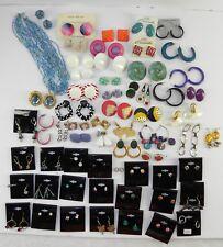 VTG to Now LOT of 55 Prs PIERCED EARRINGS Stud MOD Metal PLASTIC Hoops DANGLE
