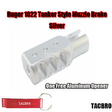Aluminum T6 Ruger 1022 10/22 Muzzle Brake Silver Hard Anodized Surface