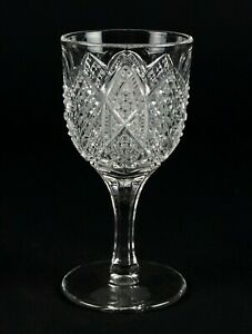 """George Duncan Scalloped Six Point Wine Glass, Antique EAPG c1897 No 30, 4 1/4"""""""