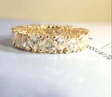 5Ct Heart Cut Diamond Full Eternity Band Engagement Ring 14K Yellow Gold Finish