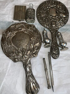 MIXED COLLECTION OF ALL HALLMARKED VINTAGE/ANTIQUE  STERLING SILVER ITEMS.200gm+