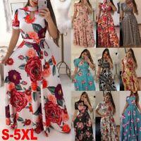 UK Women Wrap Boho Floral Paisley Maxi Print Dress Ladies Summer Beach Holiday