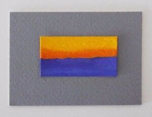 "SUNSET BLUE Miniature Seascape Pastel Painting 1""x2"" Julia Garcia OOAK Art NEW"
