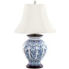 NEW Andrea by Sadek Chinese Blue & White Porcelain Temple Jar Floral Table Lamp