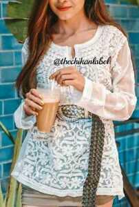 New Indian Lucknawi Chikankari Georgette Short Kurti Shirt Top Handmade Kurti