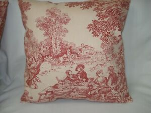 """Burgundy Toile Decorative Accent Throw Pillow Cover14"""" x 14"""" French Country"""