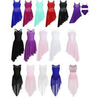 Kids Girls Floral Lace Lyrical Dance Dress Irregular High-Low Skirt Dancewear