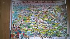 Grande carte de la region Nord Pas de Calais humoristique editée par le conseil