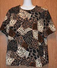 Womens Animal Print Kathy Che Short Sleeve Shirt Shell Size Medium excellent