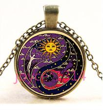 bronze Glass Chain Pendant Necklace Ts-3391 Yin yang sun and moon Cabochon