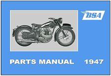 BSA Parts Manual All Models for 1947 C10 C11 B31 B32 B33 B34 M20 M21 A7 Catalog