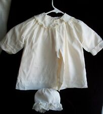 Adorable 1940's Baby/Infant Lined Coat & Bonnet w/Embroidery & Lace