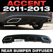 Rear Bumper Dual Muffler Diffuser Black for HYUNDAI 2011-2016 Accent Verna Sedan