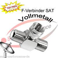 SAT Verteiler Adapter F Verbinder 1x Stecker an 2x Buchse Vollmetall >>> NEU <<<
